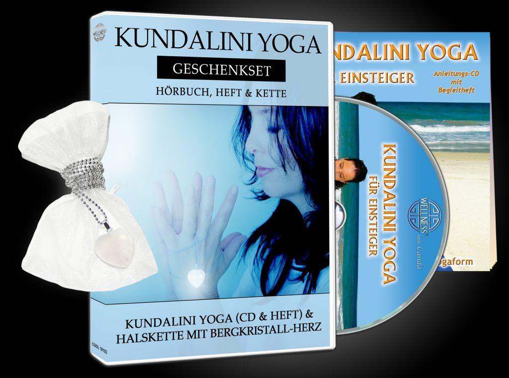 """Kundalini Yoga Geschenkset mit Hörbuch und Heft """"Kundalini Yoga für Einsteiger"""" und einer Halskette mit Herz-Anhänger aus Bergkristall"""